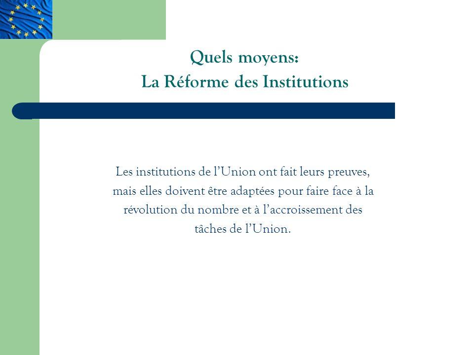 Quels moyens: La Réforme des Institutions Les institutions de lUnion ont fait leurs preuves, mais elles doivent être adaptées pour faire face à la révolution du nombre et à laccroissement des tâches de lUnion.