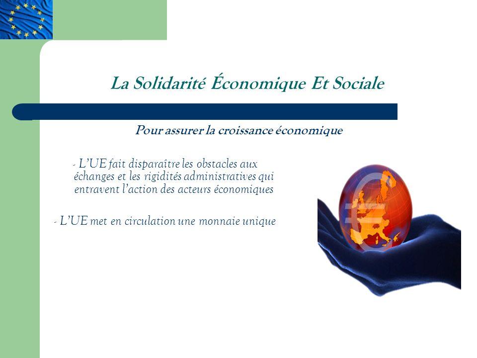 La Solidarité Économique Et Sociale - LUE fait disparaître les obstacles aux échanges et les rigidités administratives qui entravent laction des acteurs économiques - LUE met en circulation une monnaie unique Pour assurer la croissance économique
