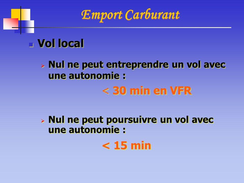 Vol local Nul ne peut entreprendre un vol avec une autonomie : < 30 min en VFR Nul ne peut poursuivre un vol avec une autonomie : < 15 min Vol local N