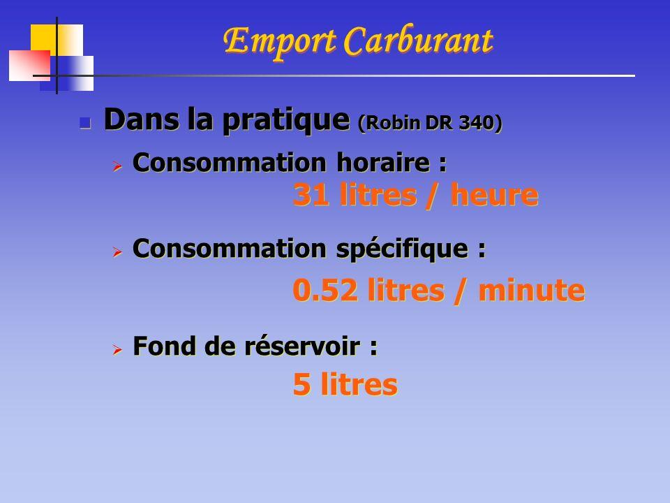 Dans la pratique (Robin DR 340) Consommation horaire : 31 litres / heure Consommation spécifique : 0.52 litres / minute Fond de réservoir : 5 litres D
