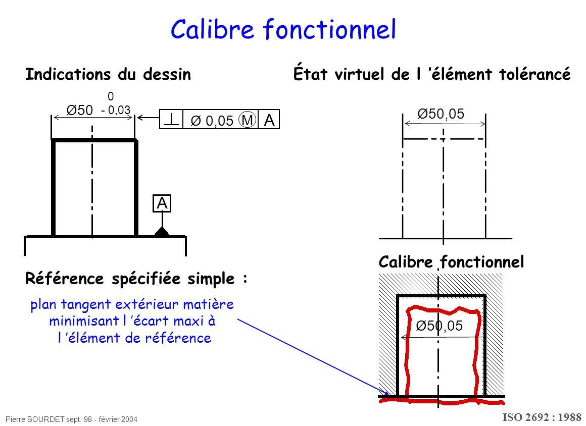 Pierre BOURDET sept. 98 - février 2004 Ø50,05 Calibre fonctionnel État virtuel de l élément tolérancéIndications du dessin Référence spécifiée simple