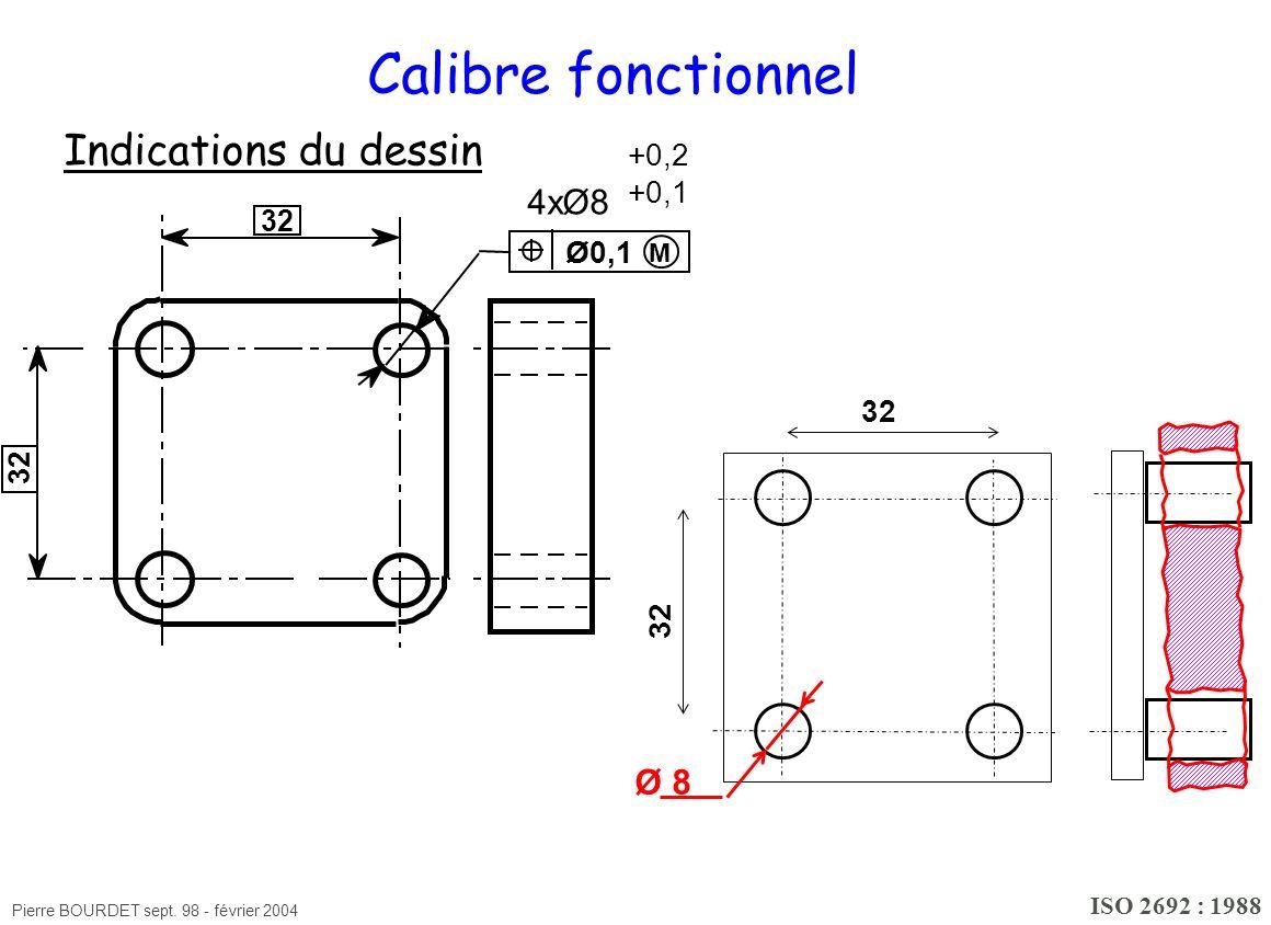 Pierre BOURDET sept. 98 - février 2004 Calibre fonctionnel Indications du dessin ISO 2692 : 1988 M 4xØ8 +0,2 +0,1 Ø0,1 32 Ø 8