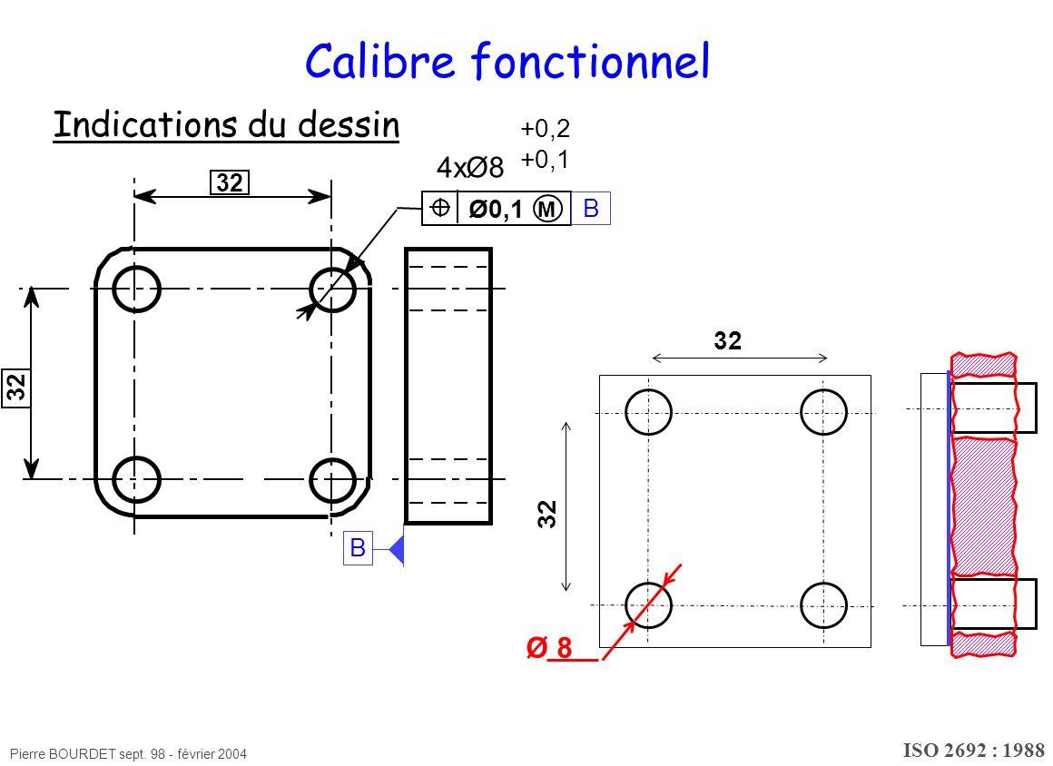 Pierre BOURDET sept. 98 - février 2004 Calibre fonctionnel Indications du dessin ISO 2692 : 1988 M 4xØ8 +0,2 +0,1 Ø0,1 32 Ø 8 B B