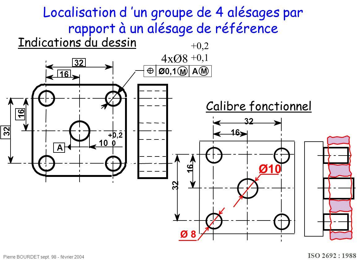 Pierre BOURDET sept. 98 - février 2004 16 32 16 Localisation d un groupe de 4 alésages par rapport à un alésage de référence Ø10 Ø 8 Indications du de