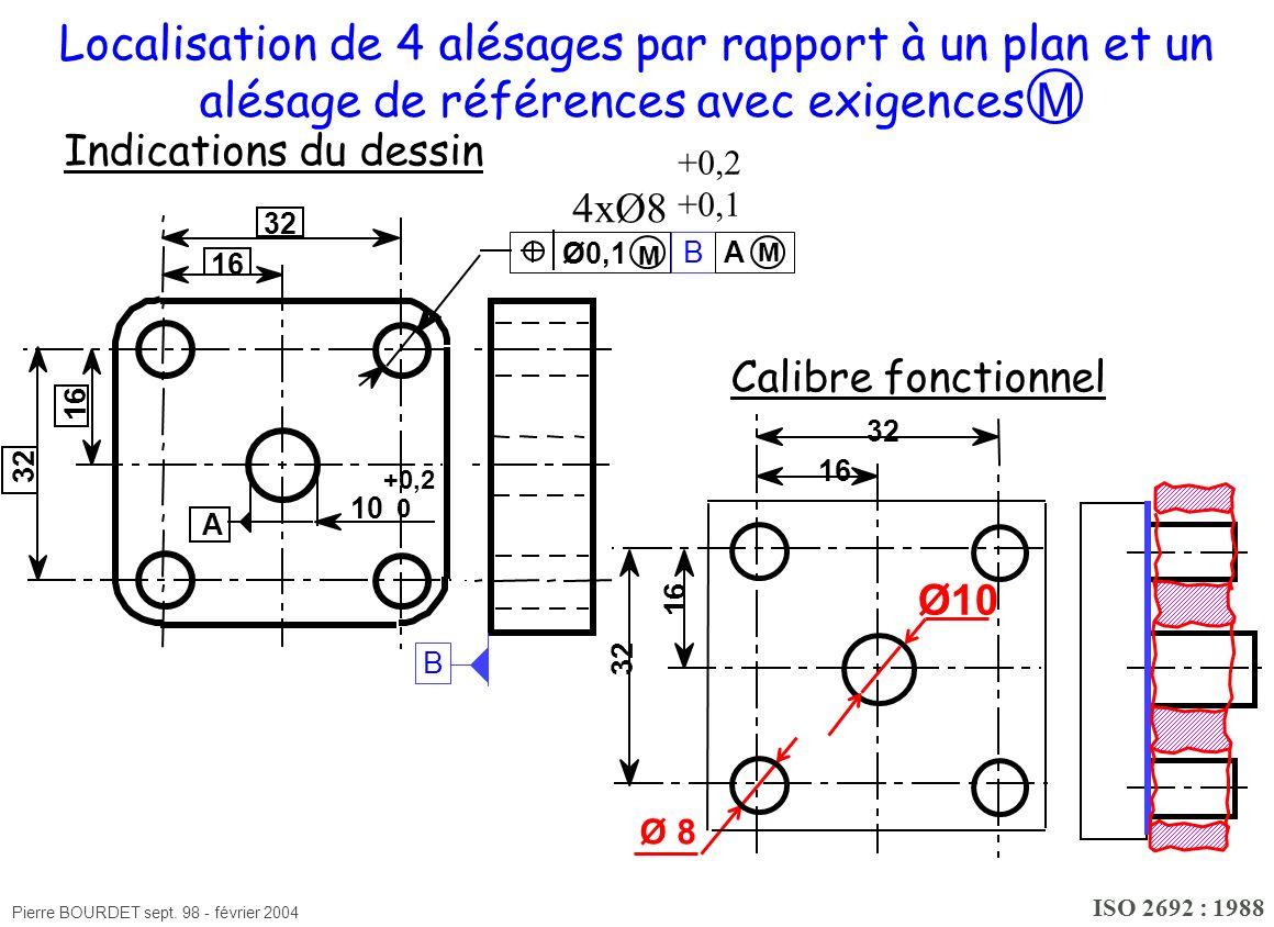Pierre BOURDET sept. 98 - février 2004 16 32 16 Localisation de 4 alésages par rapport à un plan et un alésage de références avec exigences M Ø10 Ø 8