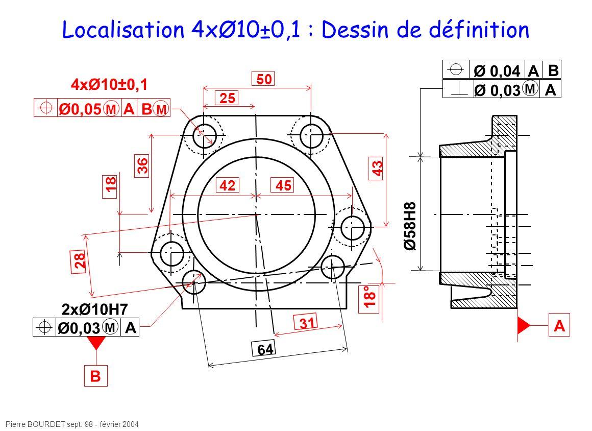 Pierre BOURDET sept. 98 - février 2004 Localisation 4xØ10±0,1 : Dessin de définition 25 31 Ø58H8 A Ø 0,03 A A 2xØ10H7 64 Ø 0,04A B B Ø0,05 A B 4xØ10±0