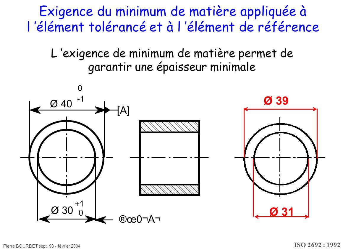 Pierre BOURDET sept. 98 - février 2004 [A] Ø 30 +1 0 ®œ0¬A¬ Ø 40 0 Exigence du minimum de matière appliquée à l élément tolérancé et à l élément de ré