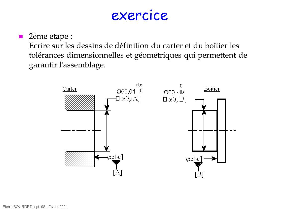 Pierre BOURDET sept. 98 - février 2004 exercice 2ème étape : Ecrire sur les dessins de définition du carter et du boîtier les tolérances dimensionnell