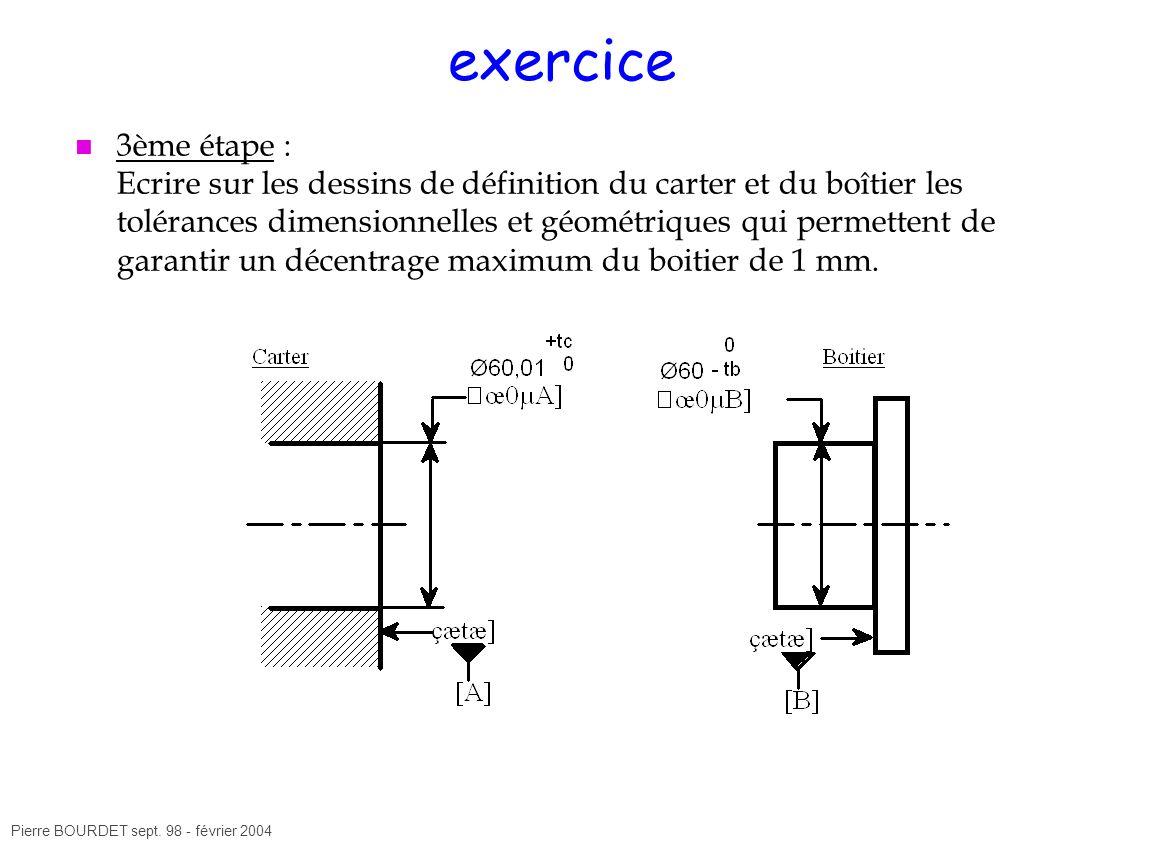 Pierre BOURDET sept. 98 - février 2004 exercice 3ème étape : Ecrire sur les dessins de définition du carter et du boîtier les tolérances dimensionnell