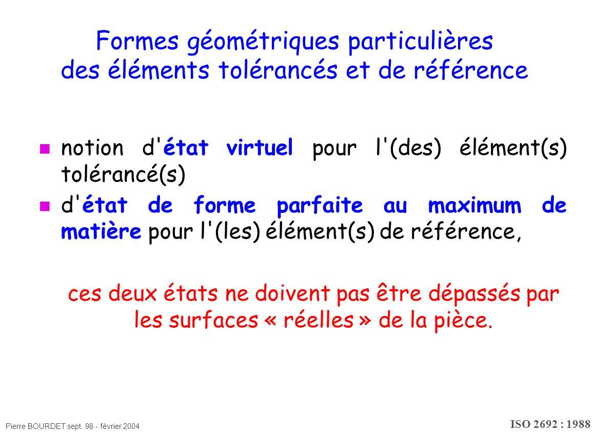 Pierre BOURDET sept. 98 - février 2004 Formes géométriques particulières des éléments tolérancés et de référence notion d'état virtuel pour l'(des) él