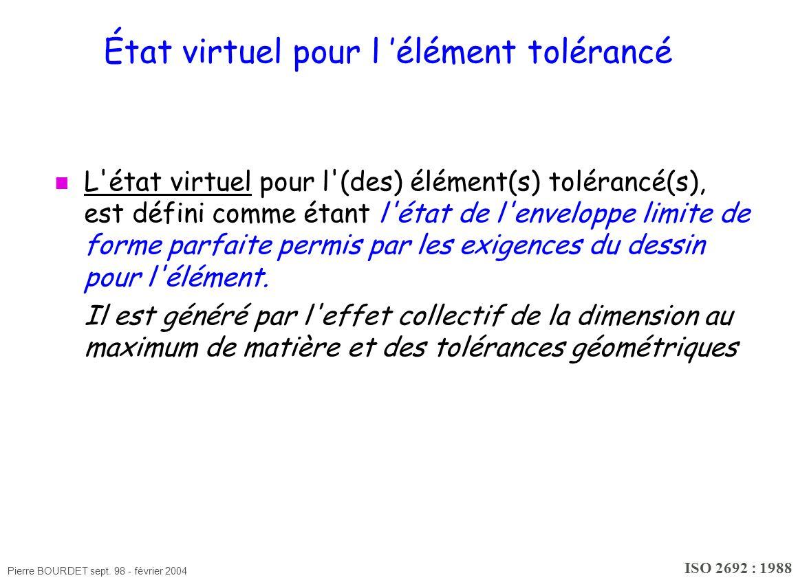 Pierre BOURDET sept. 98 - février 2004 État virtuel pour l élément tolérancé L'état virtuel pour l'(des) élément(s) tolérancé(s), est défini comme éta