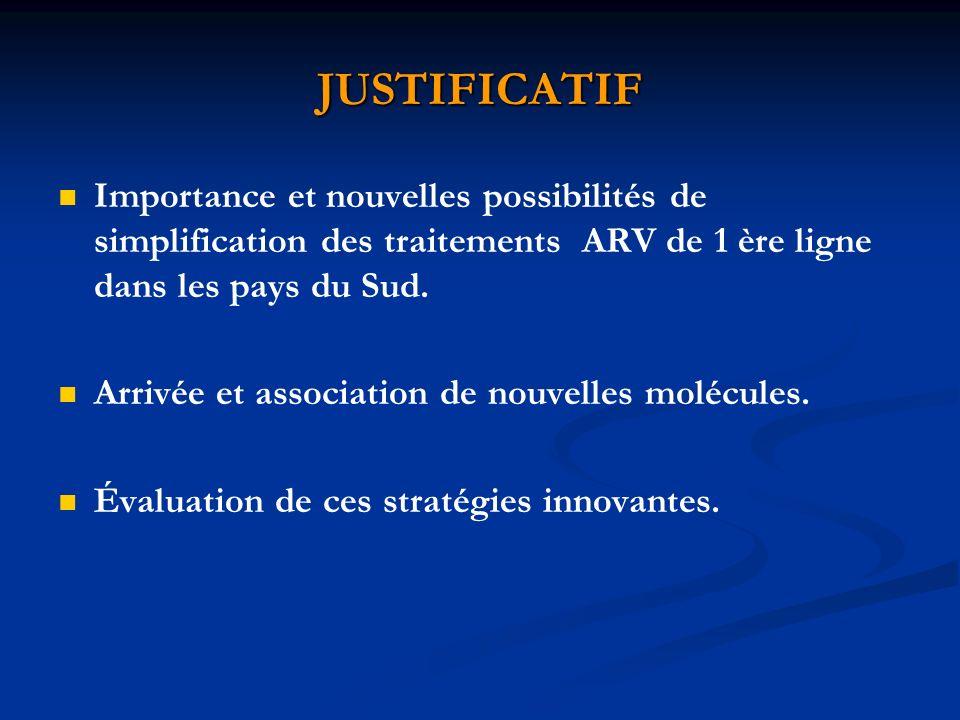 JUSTIFICATIF Importance et nouvelles possibilités de simplification des traitements ARV de 1 ère ligne dans les pays du Sud. Arrivée et association de
