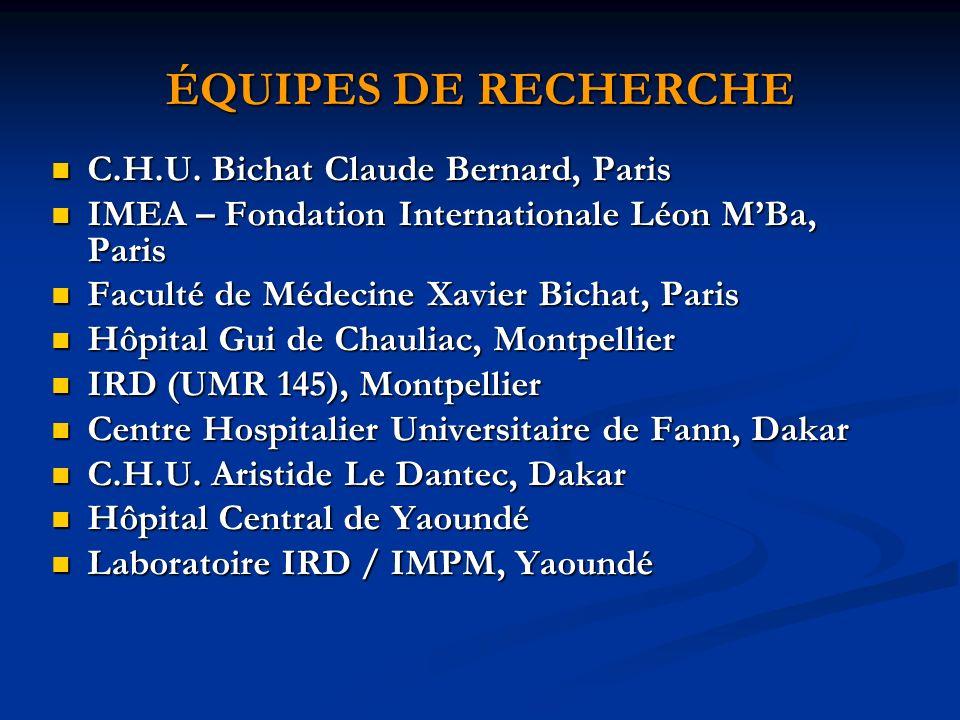 CENTRES INVESTIGATEURS Sénégal : CHU de FANN, Dakar Sénégal : CHU de FANN, Dakar Cameroun : Hôpital Central de Yaoundé Cameroun : Hôpital Central de Yaoundé