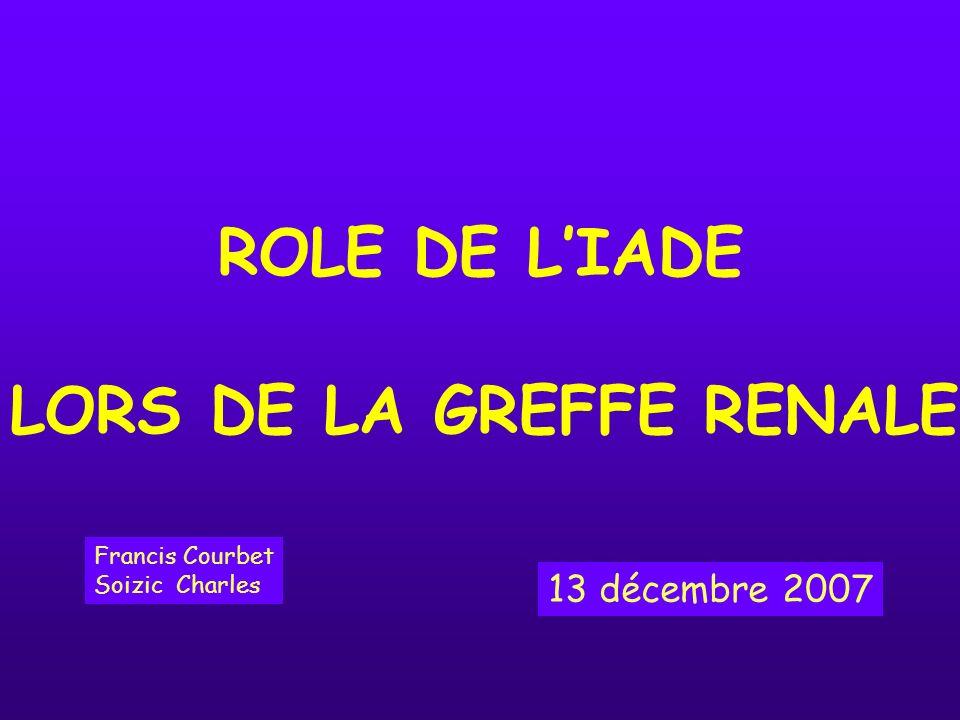 ROLE DE LIADE LORS DE LA GREFFE RENALE Francis Courbet Soizic Charles 13 décembre 2007