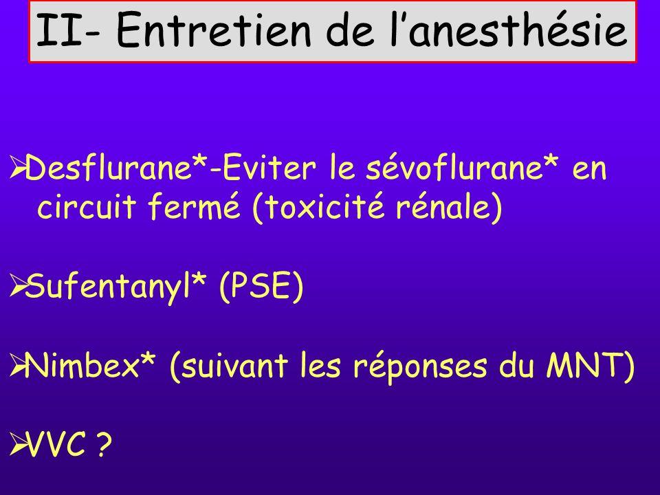 II- Entretien de lanesthésie Desflurane*-Eviter le sévoflurane* en circuit fermé (toxicité rénale) Sufentanyl* (PSE) Nimbex* (suivant les réponses du