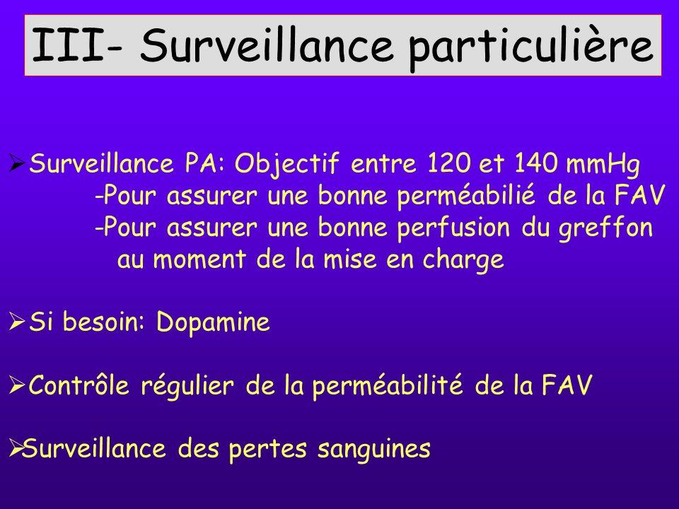 III- Surveillance particulière Surveillance PA: Objectif entre 120 et 140 mmHg -Pour assurer une bonne perméabilié de la FAV -Pour assurer une bonne p
