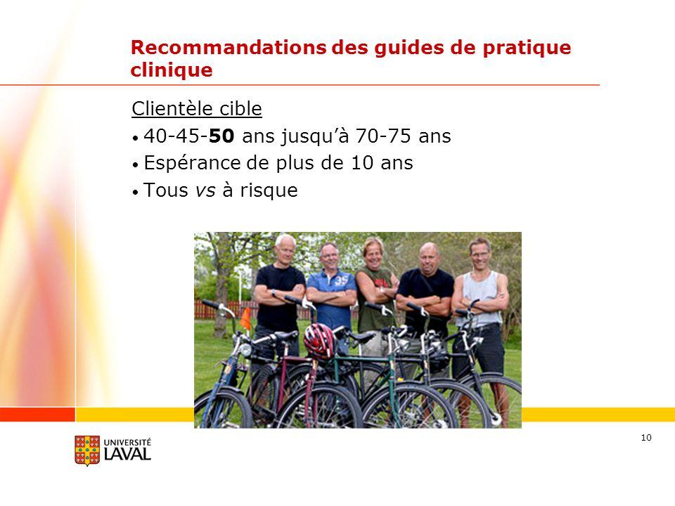 10 Recommandations des guides de pratique clinique Clientèle cible 40-45-50 ans jusquà 70-75 ans Espérance de plus de 10 ans Tous vs à risque