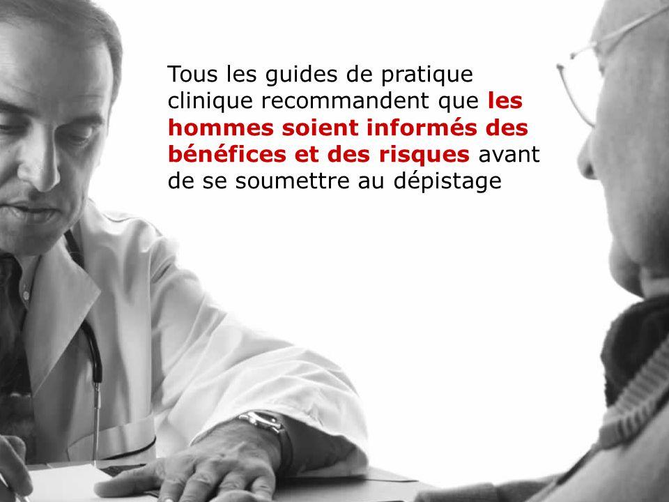 11 Recommandation uniforme! Tous les guides de pratique clinique recommandent que les hommes soient informés sur les bénéfices et les risques avant de
