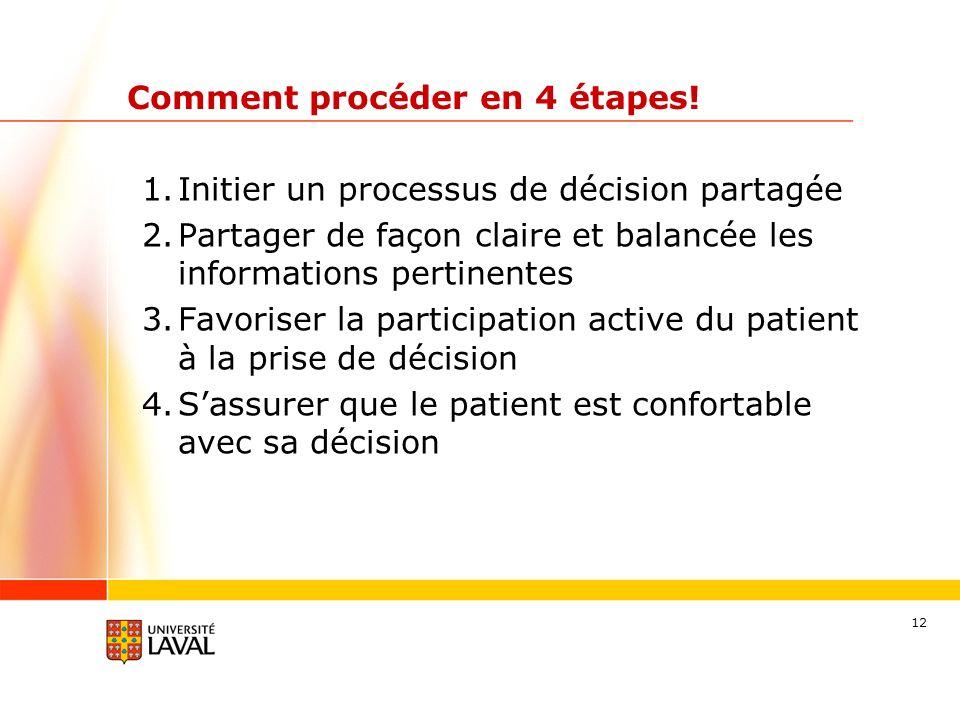 12 Comment procéder en 4 étapes! 1.Initier un processus de décision partagée 2.Partager de façon claire et balancée les informations pertinentes 3.Fav