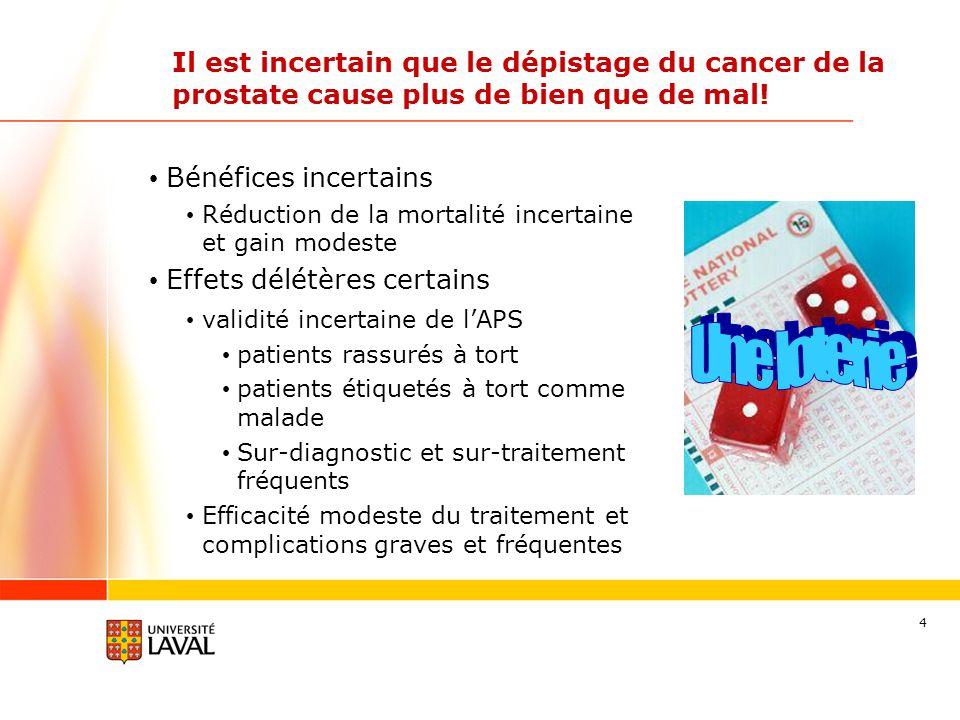 4 Il est incertain que le dépistage du cancer de la prostate cause plus de bien que de mal! Bénéfices incertains Réduction de la mortalité incertaine