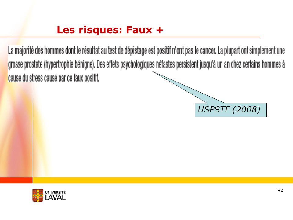 42 Les risques: Faux + USPSTF (2008)