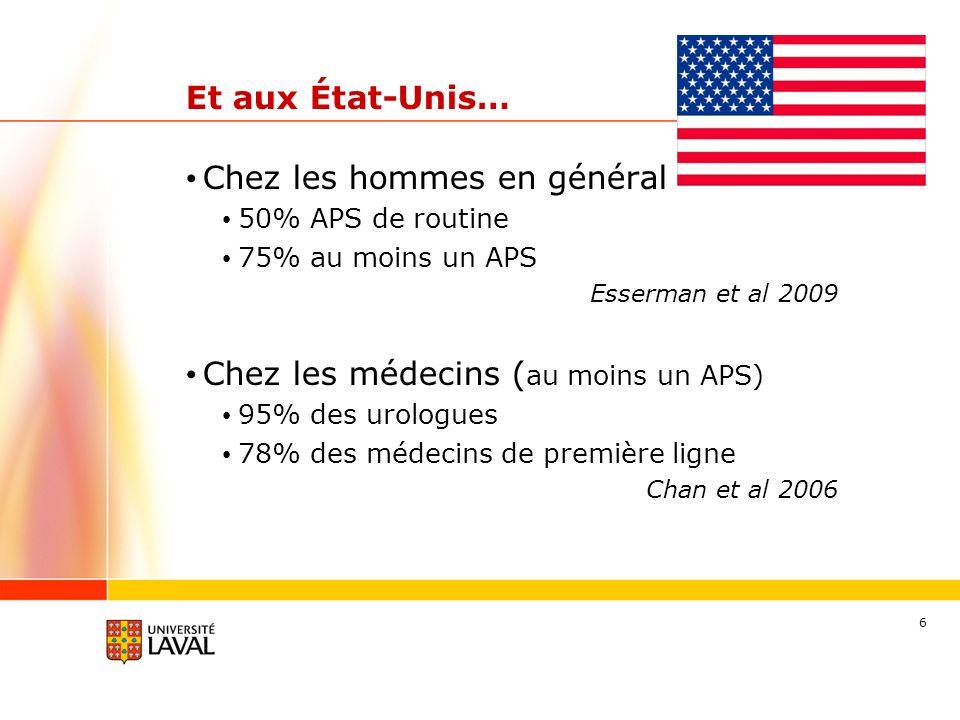 6 Et aux État-Unis… Chez les hommes en général 50% APS de routine 75% au moins un APS Esserman et al 2009 Chez les médecins ( au moins un APS) 95% des urologues 78% des médecins de première ligne Chan et al 2006
