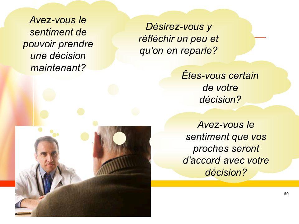 60 Avez-vous le sentiment de pouvoir prendre une décision maintenant? Avez-vous le sentiment que vos proches seront daccord avec votre décision? Désir