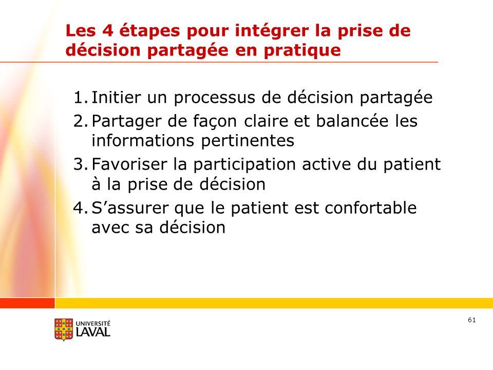 61 Les 4 étapes pour intégrer la prise de décision partagée en pratique 1.Initier un processus de décision partagée 2.Partager de façon claire et balancée les informations pertinentes 3.Favoriser la participation active du patient à la prise de décision 4.Sassurer que le patient est confortable avec sa décision