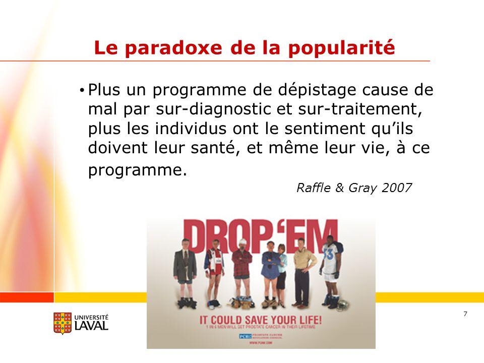 7 Le paradoxe de la popularité Plus un programme de dépistage cause de mal par sur-diagnostic et sur-traitement, plus les individus ont le sentiment quils doivent leur santé, et même leur vie, à ce programme.