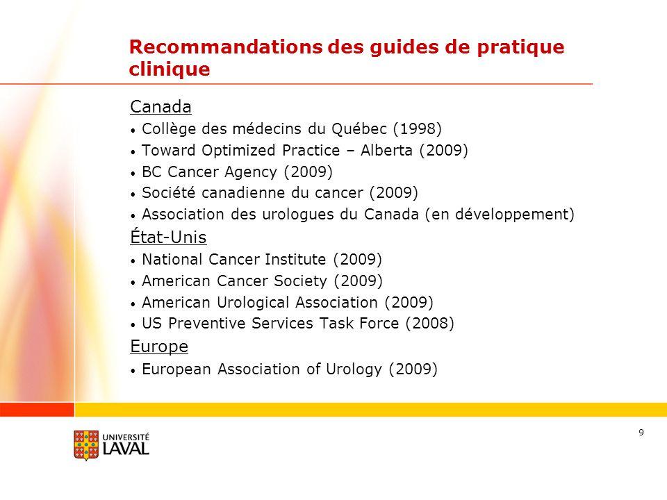9 Recommandations des guides de pratique clinique Canada Collège des médecins du Québec (1998) Toward Optimized Practice – Alberta (2009) BC Cancer Ag