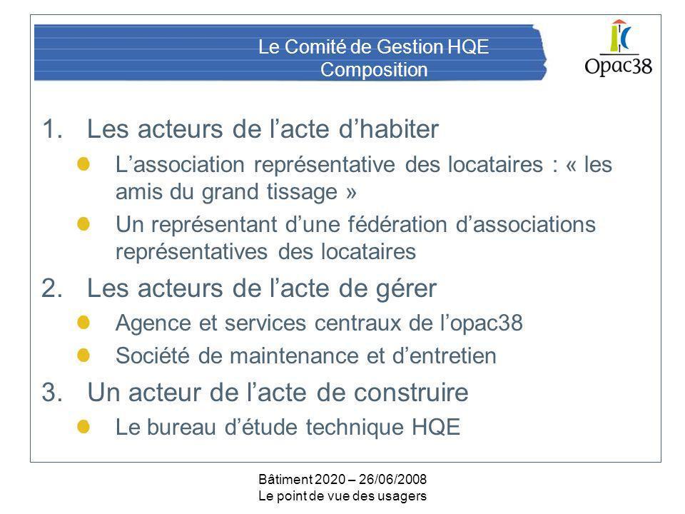 Bâtiment 2020 – 26/06/2008 Le point de vue des usagers Le Comité de Gestion HQE Composition 1.Les acteurs de lacte dhabiter Lassociation représentativ