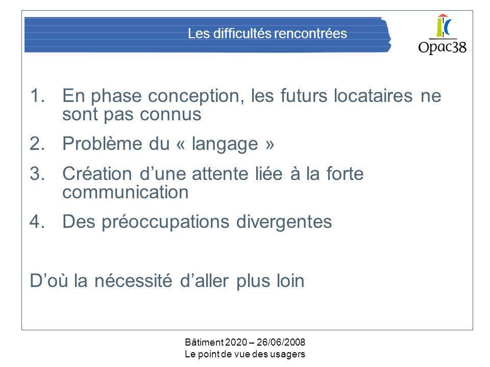 Bâtiment 2020 – 26/06/2008 Le point de vue des usagers Les difficultés rencontrées 1.En phase conception, les futurs locataires ne sont pas connus 2.P