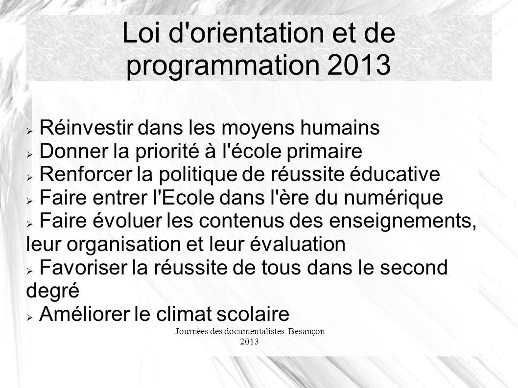 Journées des documentalistes Besançon 2013 Loi d'orientation et de programmation 2013 Réinvestir dans les moyens humains Donner la priorité à l'école