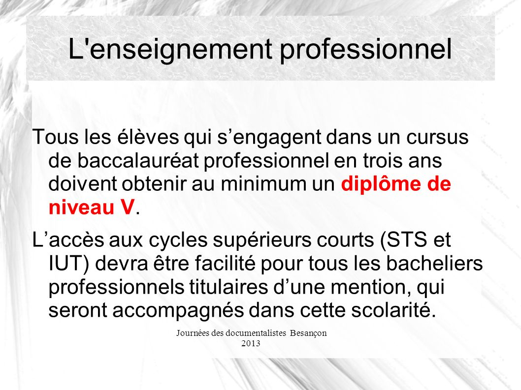 Journées des documentalistes Besançon 2013 L enseignement professionnel Tous les élèves qui sengagent dans un cursus de baccalauréat professionnel en trois ans doivent obtenir au minimum un diplôme de niveau V.