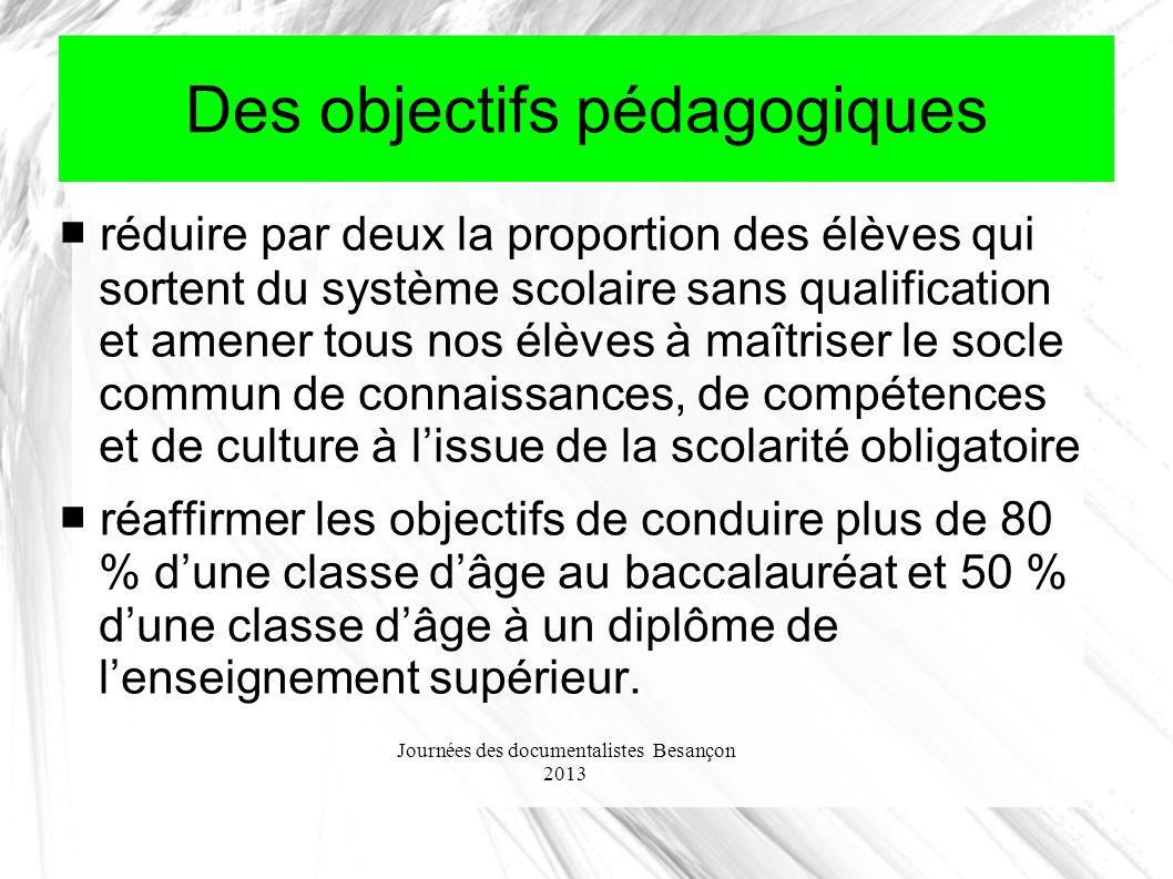 Journées des documentalistes Besançon 2013 Des objectifs pédagogiques réduire par deux la proportion des élèves qui sortent du système scolaire sans q