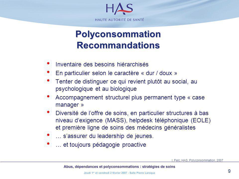 9 Polyconsommation Recommandations Inventaire des besoins hiérarchisés En particulier selon le caractère « dur / doux » Tenter de distinguer ce qui re