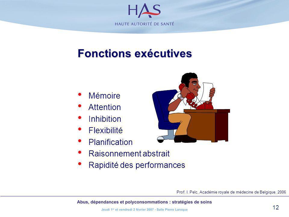 12 Fonctions exécutives Mémoire Attention Inhibition Flexibilité Planification Raisonnement abstrait Rapidité des performances Prof. I. Pelc, Académie