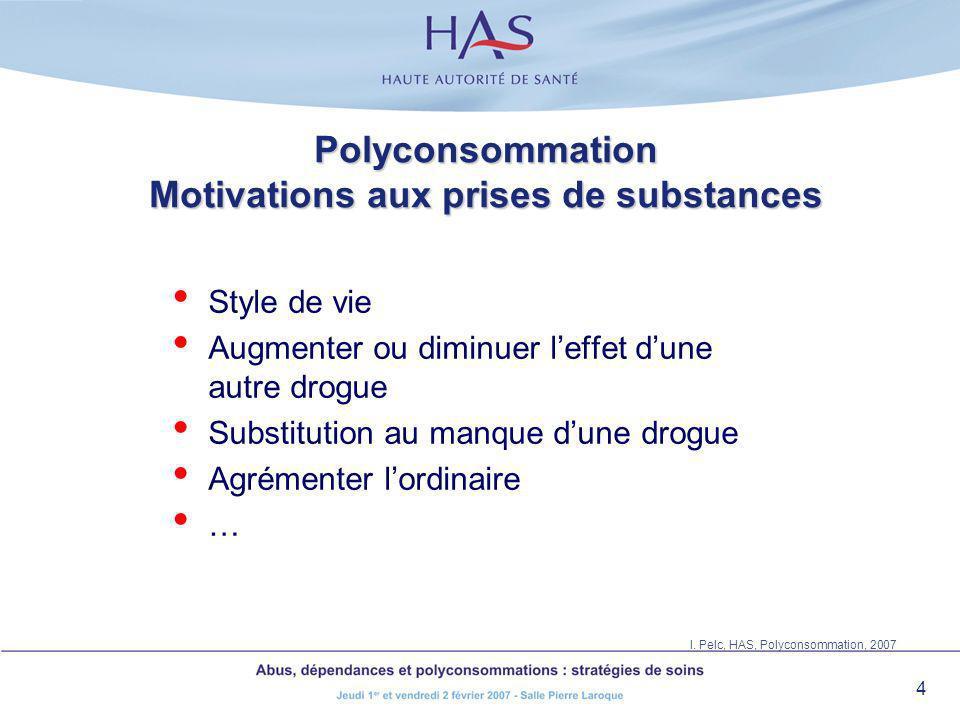 4 Polyconsommation Motivations aux prises de substances Style de vie Augmenter ou diminuer leffet dune autre drogue Substitution au manque dune drogue