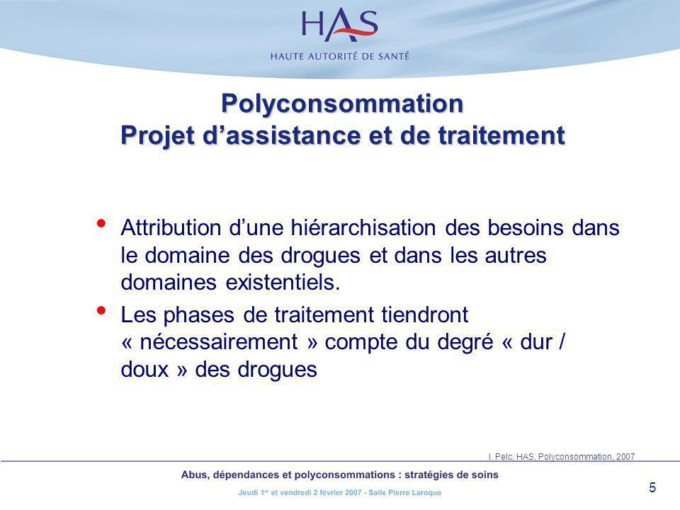 5 Polyconsommation Projet dassistance et de traitement Attribution dune hiérarchisation des besoins dans le domaine des drogues et dans les autres dom