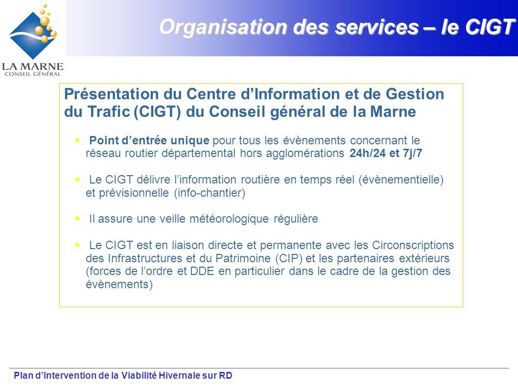 Plan dIntervention de la Viabilité Hivernale sur RD Organisation des services – le CIGT Présentation du Centre dInformation et de Gestion du Trafic (C