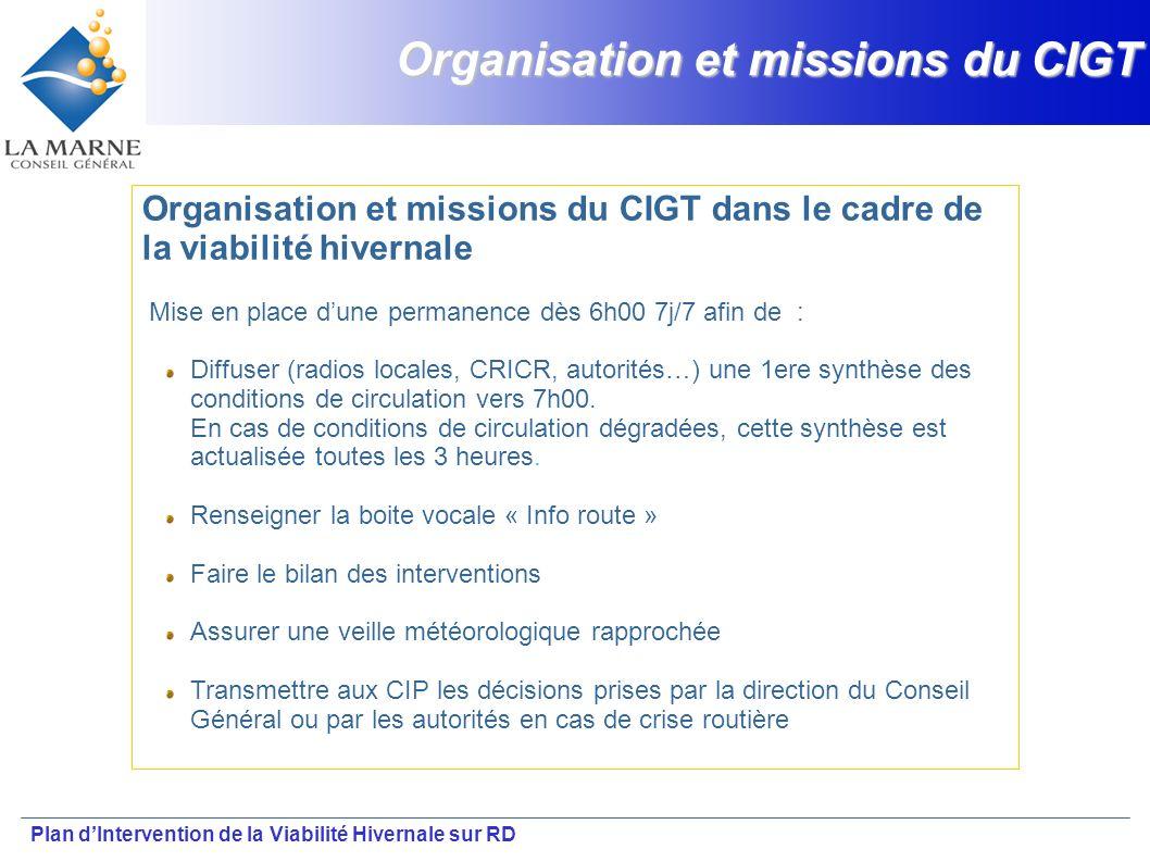 Plan dIntervention de la Viabilité Hivernale sur RD Organisation et missions du CIGT Organisation et missions du CIGT dans le cadre de la viabilité hi