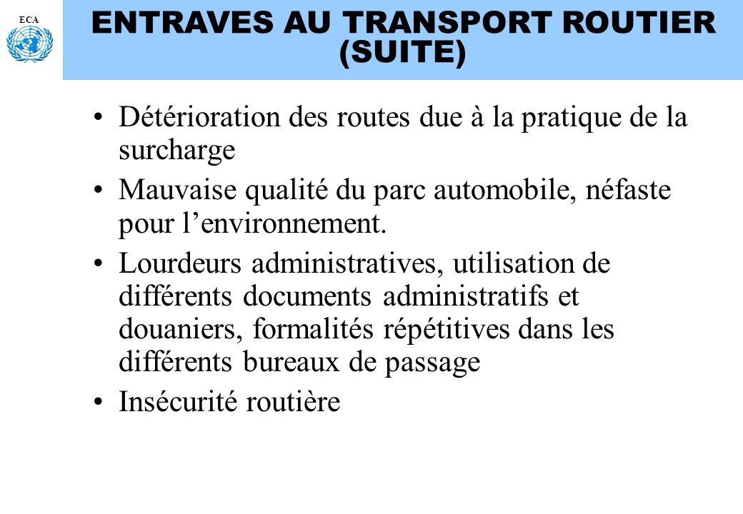ECA ENTRAVES AU TRANSPORT ROUTIER (SUITE) Détérioration des routes due à la pratique de la surcharge Mauvaise qualité du parc automobile, néfaste pour