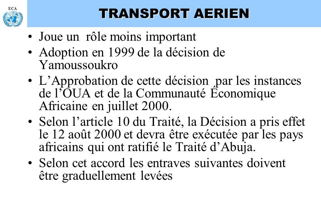 ECA TRANSPORT AERIEN Joue un rôle moins important Adoption en 1999 de la décision de Yamoussoukro LApprobation de cette décision par les instances de