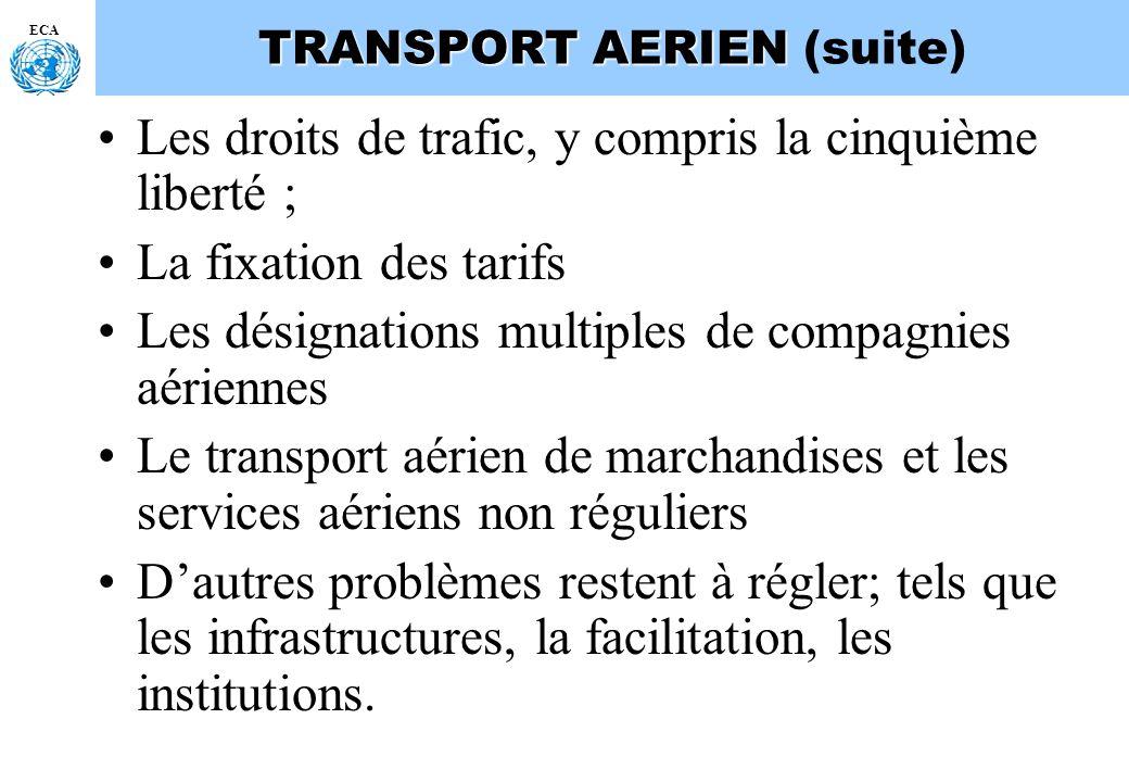 ECA TRANSPORT AERIEN TRANSPORT AERIEN (suite) Les droits de trafic, y compris la cinquième liberté ; La fixation des tarifs Les désignations multiples