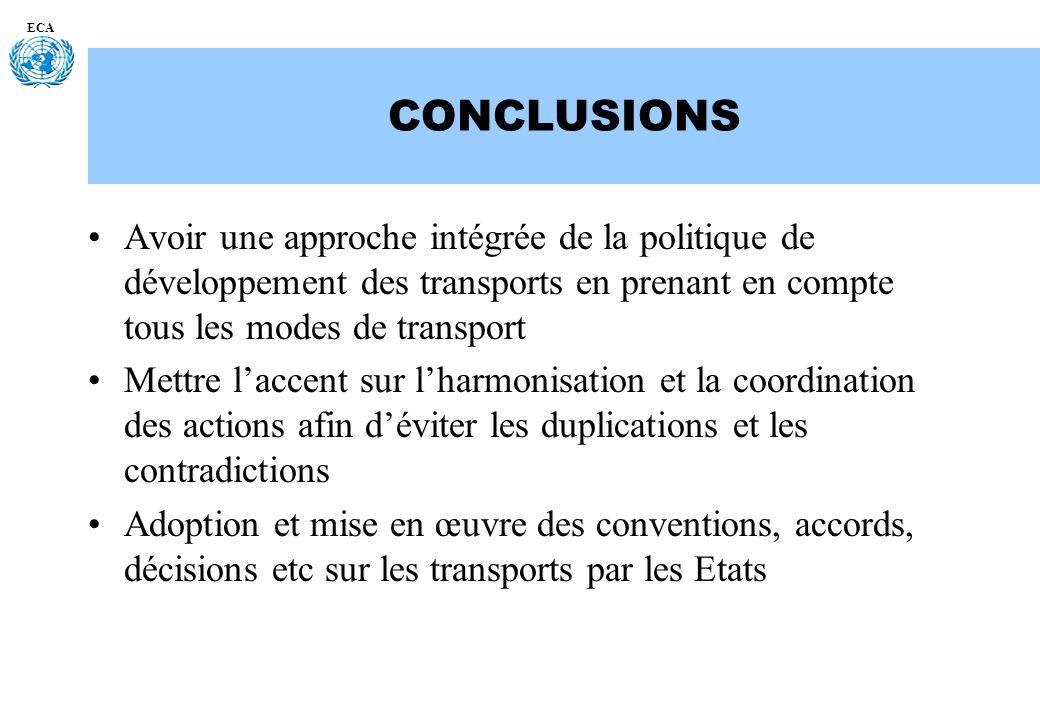 ECA CONCLUSIONS Avoir une approche intégrée de la politique de développement des transports en prenant en compte tous les modes de transport Mettre la