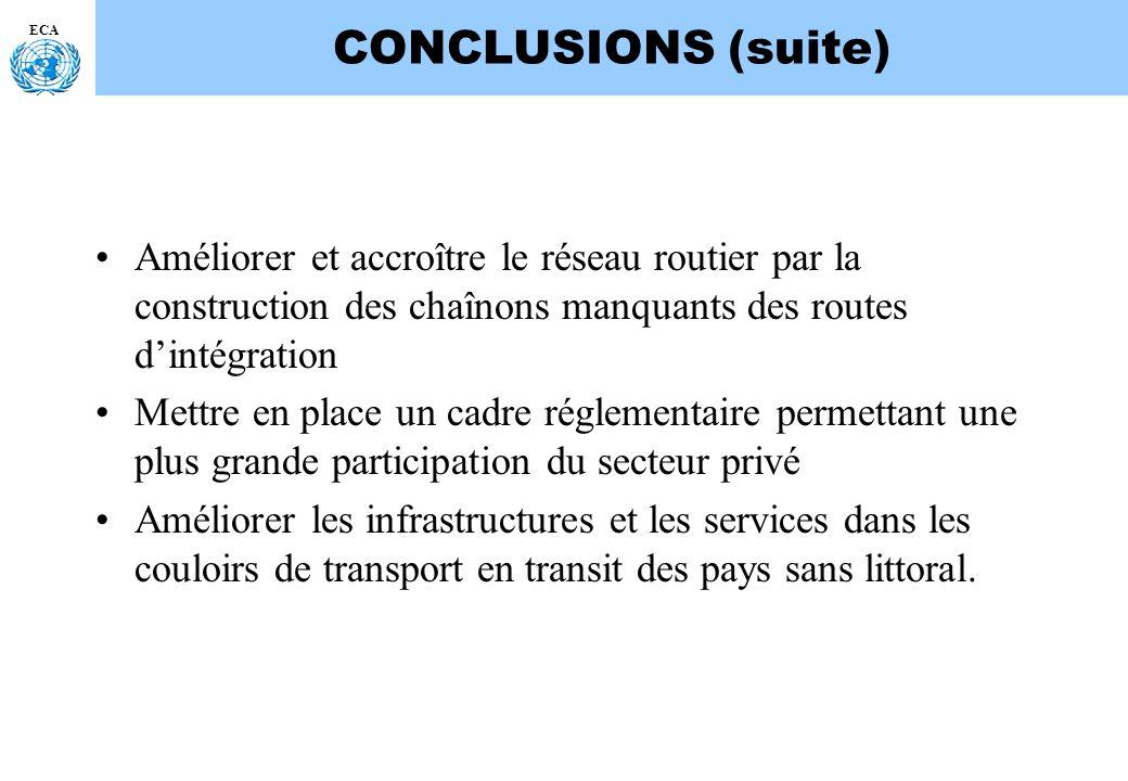 ECA CONCLUSIONS (suite) Améliorer et accroître le réseau routier par la construction des chaînons manquants des routes dintégration Mettre en place un