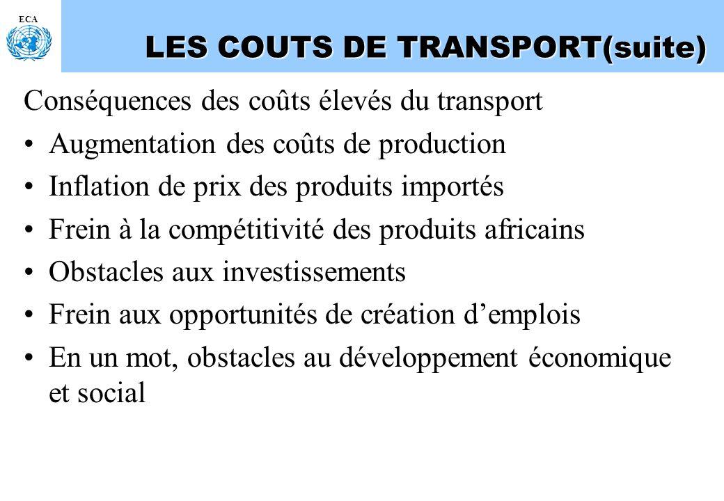 ECA LES COUTS DE TRANSPORT(suite) Conséquences des coûts élevés du transport Augmentation des coûts de production Inflation de prix des produits impor