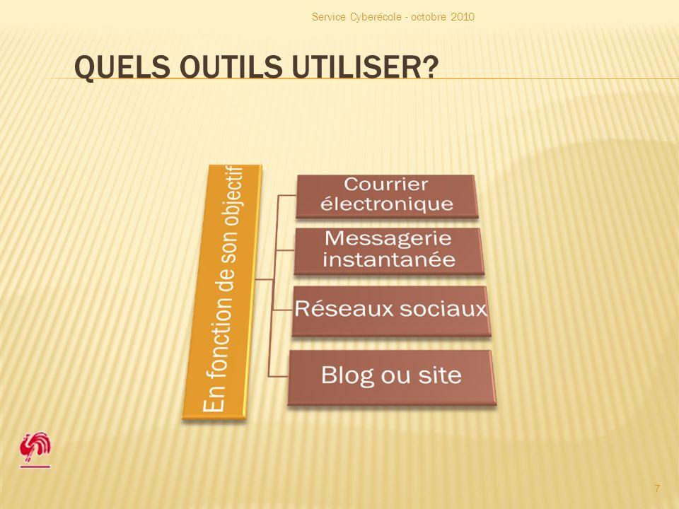 QUELS OUTILS UTILISER Service Cyberécole - octobre 2010 7