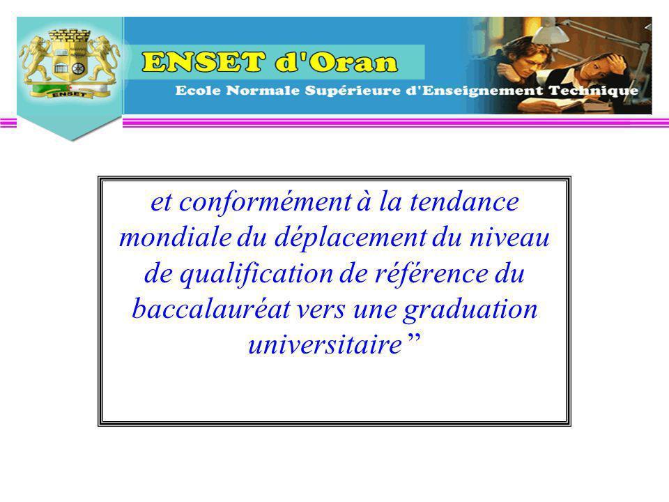 et conformément à la tendance mondiale du déplacement du niveau de qualification de référence du baccalauréat vers une graduation universitaire