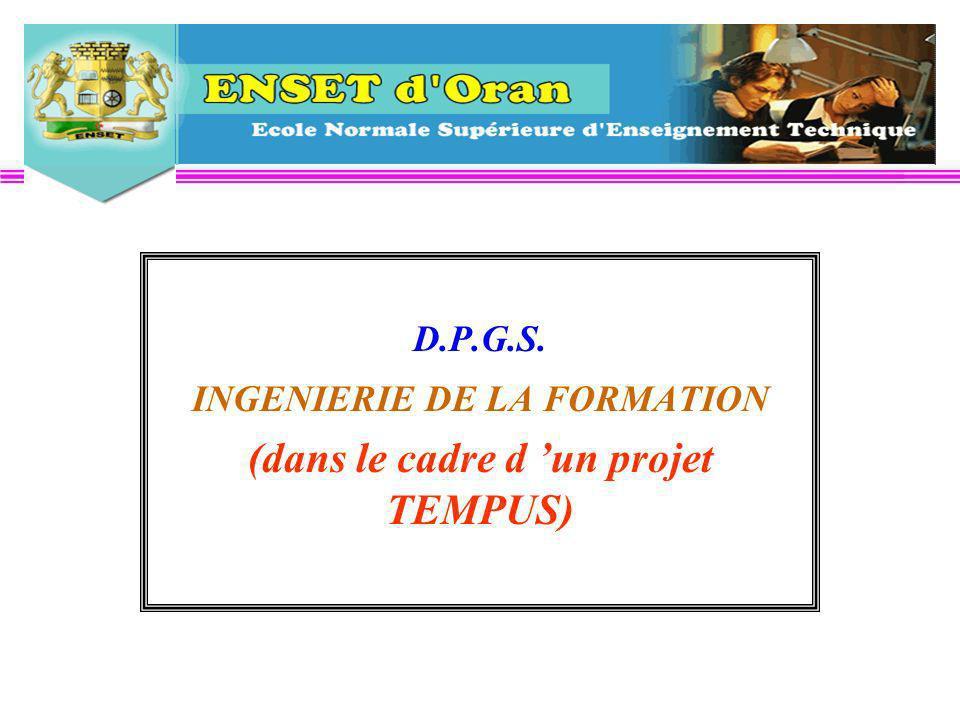D.P.G.S. INGENIERIE DE LA FORMATION (dans le cadre d un projet TEMPUS)